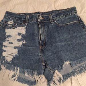 Levi's ultra distressed jean shorts